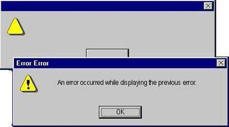 Risultati immagini per error occurred while displaying previous error