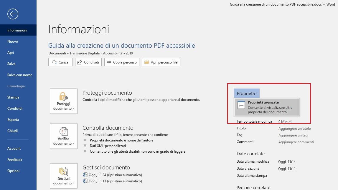 Questa immagine mostra come aggiungere le proprietà al documento se si utilizza Microsoft Word