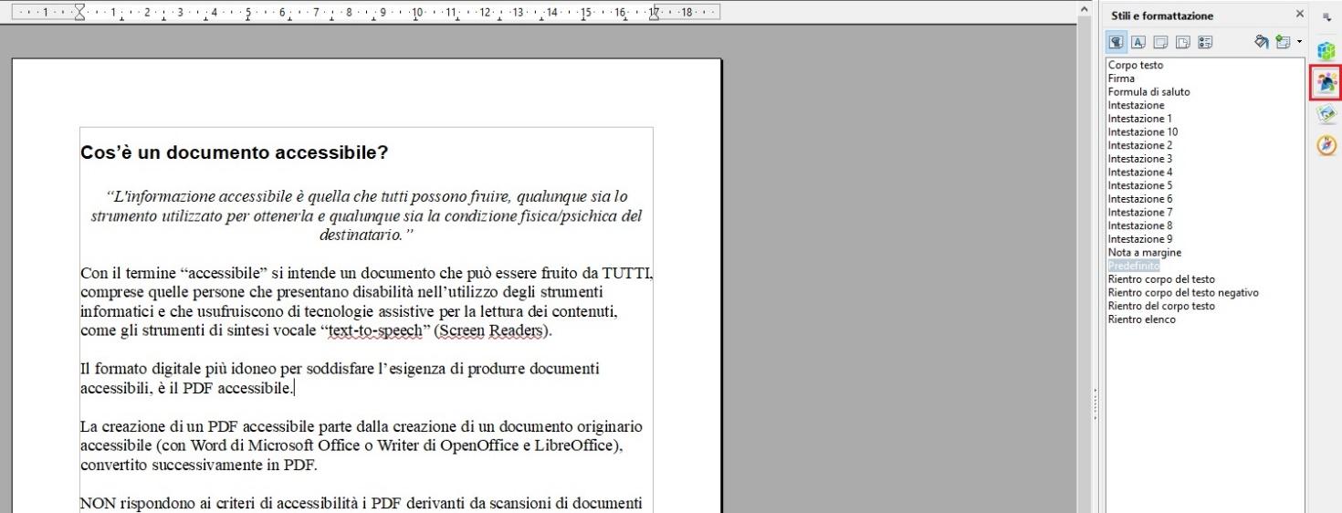 Questa immagine mostra come utilizzare gli stili (di intestazione) per i titoli con OpenOffice Writer