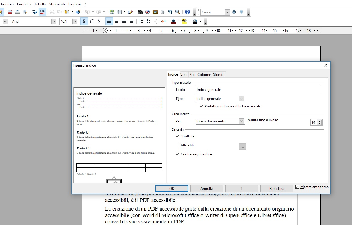 Questa immagine mostra come inserire l'indice all'inizio di un documento creato con OpenOffice Writer