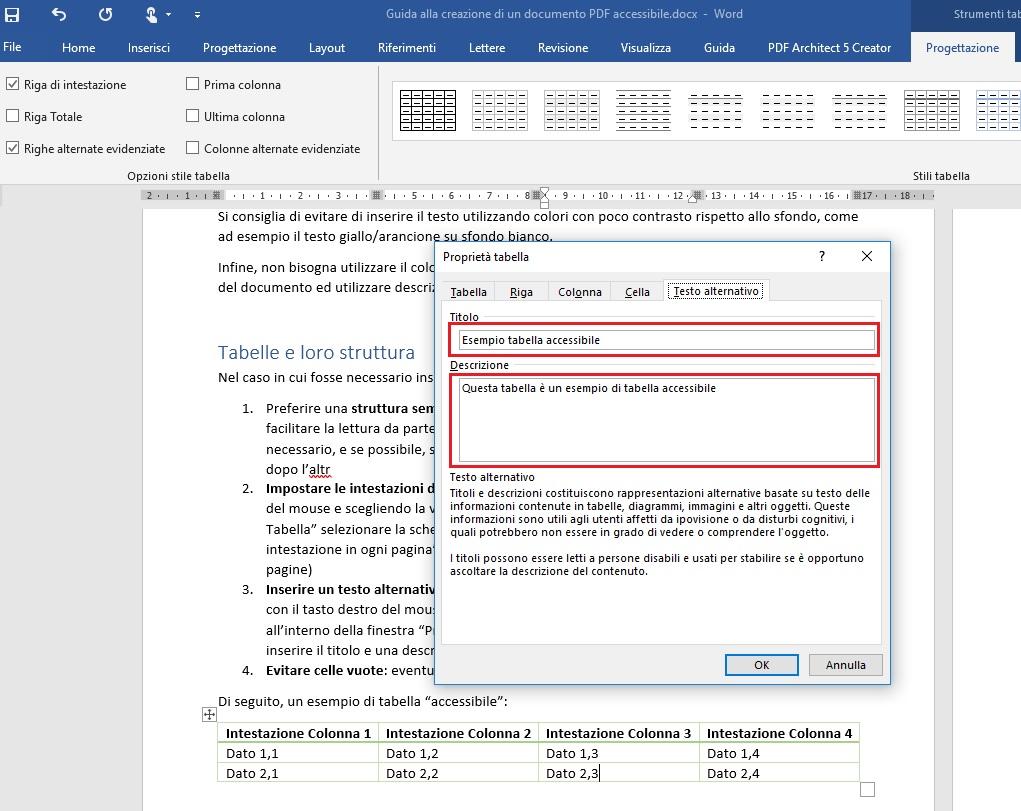 Questa immagine mostra come inserire titolo e descrizione in una tabella con Microsoft Word