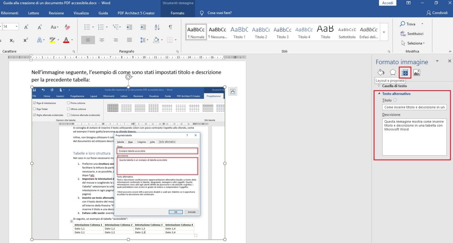 Questa immagine mostra come inserire i testi alternativi su un'immagine con Microsoft Word